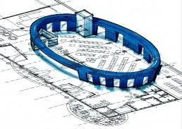 Umbau einer Fabrikationshalle von Schott Zwiesel in einen Werksverkauf durch LAY InnenArchitekten.